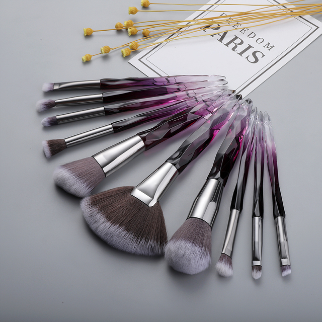 FLD Professional 10Pcs Makeup Brush Set Crystal Face Powder Blush Brushes Set Eyeliner Eyebrow Make Up Tools Kits 5