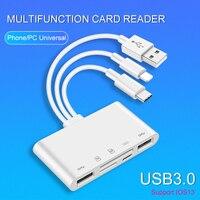 UTHAI-Adaptador USB C75 5 en 1 para iPhone, tableta Android, lector de tarjetas SD/TF, 500mA, compatible con iOS 13, conector USB tipo C Lightning