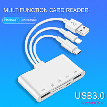 UTHAI – adaptateur C75 5 en 1 USB 3.0 pour tablette iPhone Android, lecteur de carte SD/TF 500ma, prise en charge de IOS13 type-c Lightning USB Hub