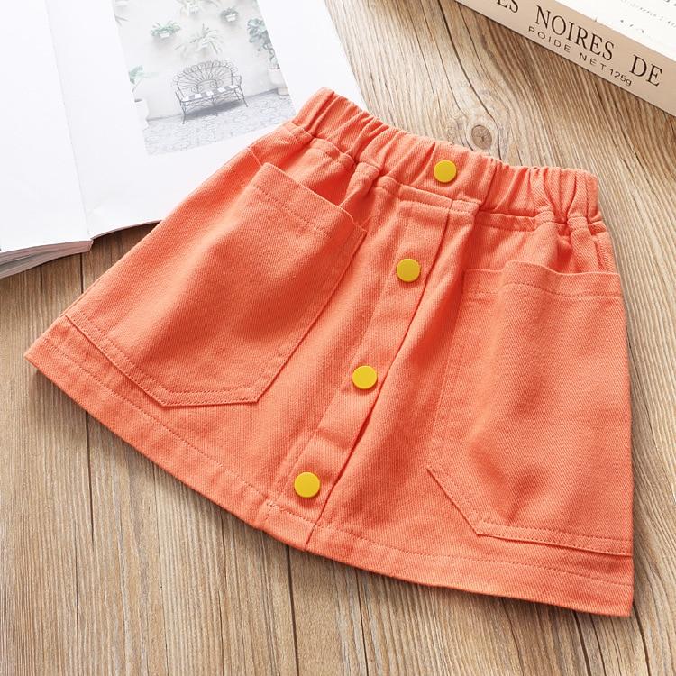 Юбка для девочек; однотонная саржевая юбка с поясом; юбка трапециевидной формы; сезон весна; - Цвет: orange