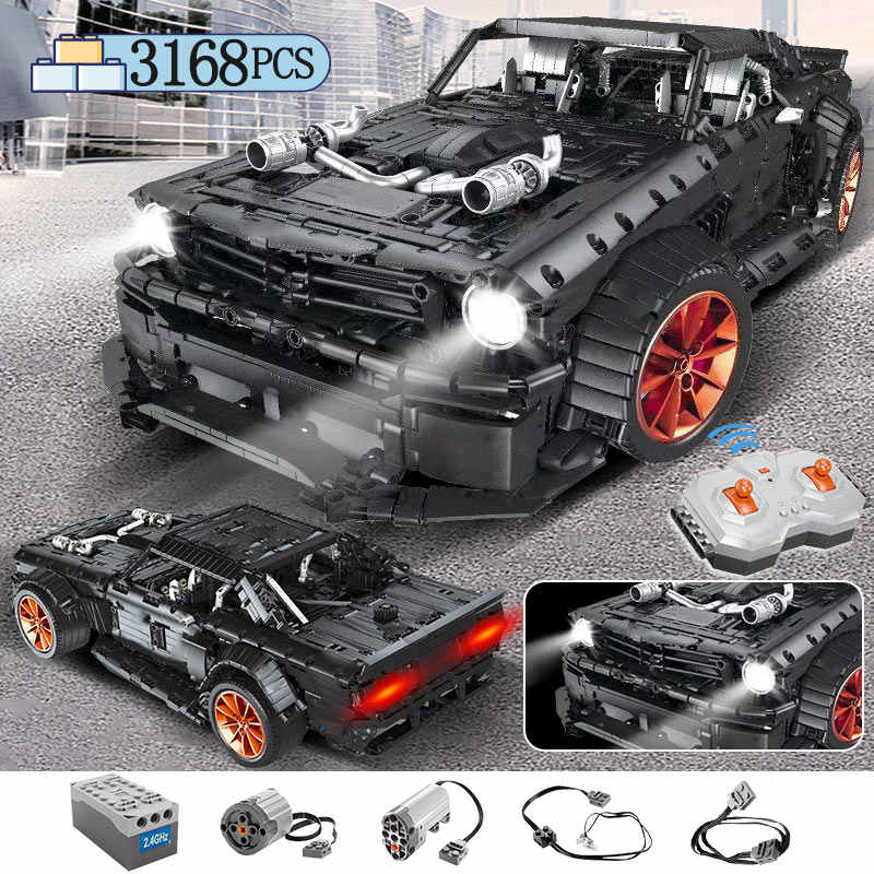 3168pcs MOC RC Ford Mustang Hoonicorn RTR V2 Modello Building Block Legoing Technic Da Corsa City Car Led Giocattoli Dei Mattoni per I Bambini