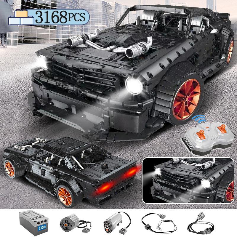 3168 pçs moc rc ford mustang hoonicorn rtr v2 modelo bloco de construção legoing técnica carro da cidade de corrida led tijolos brinquedos para crianças