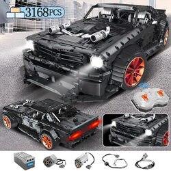 3168pcs MOC RC Ford Mustang Hoonicorn RTR V2 Model Bouwsteen Legoing Technic Racing Auto Led Bricks Speelgoed voor kids