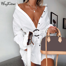 Hugcitar 2019 cotton long sleeve blouse mini dress with belt autumn winter women streetwear loose sexy white solid outfits цена