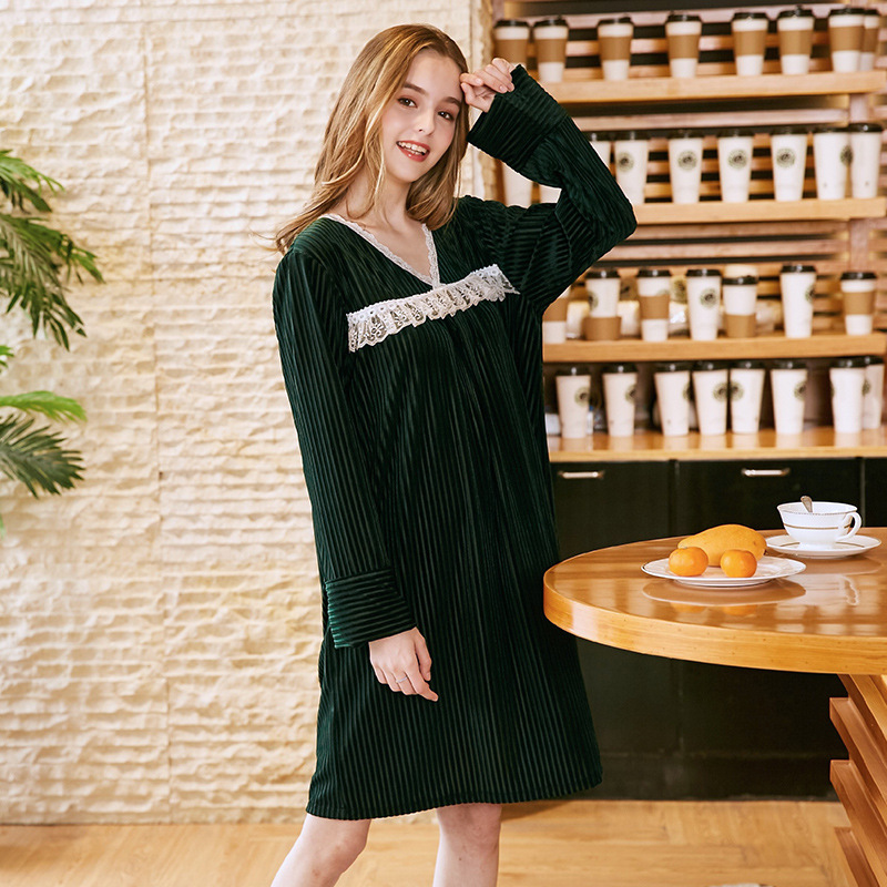 2018 Yao Ting Thin Gold Velvet Pajamas Women's Summer Sexy Long Sleeve Nightgown Women's Sr901