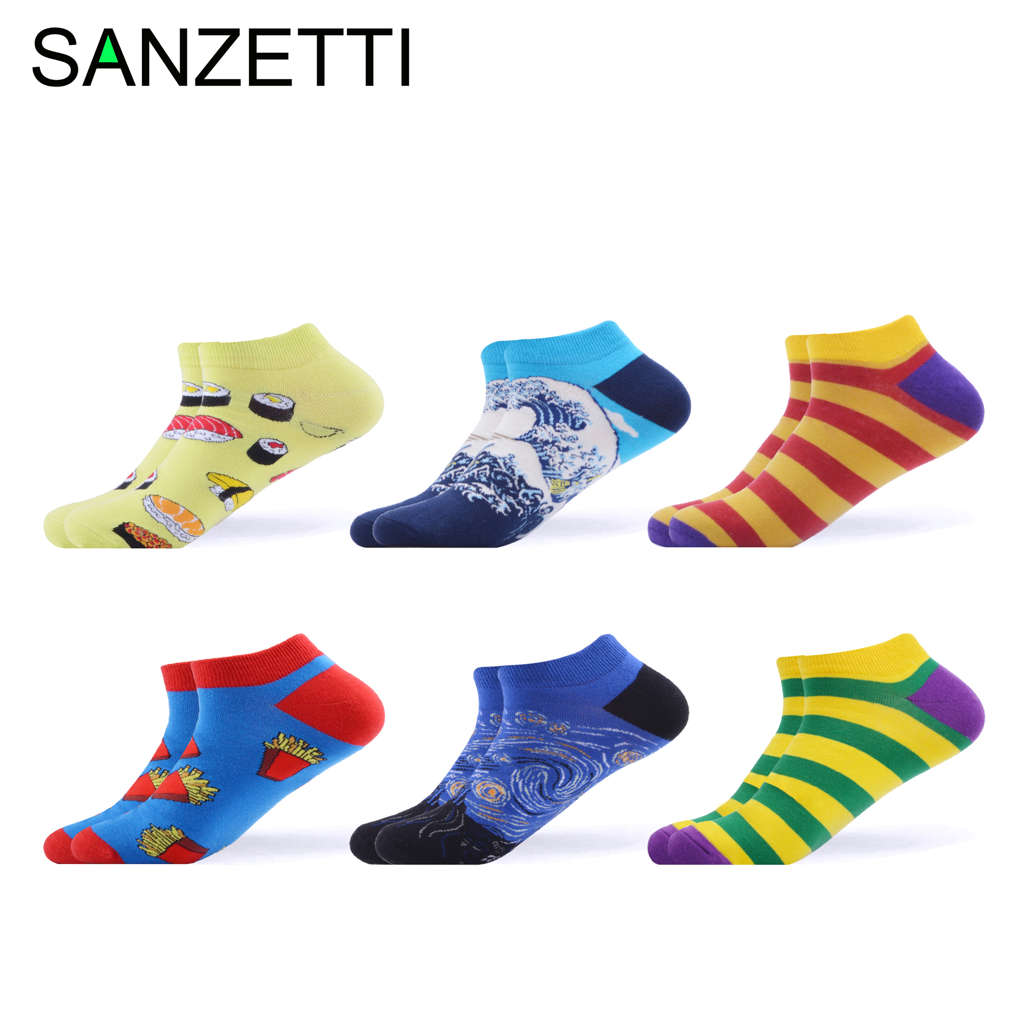 SANZETTI 6 Pairs Of Summer Leisure Ankle Socks Novel Breathable Comfortable Combed Cotton Happy Wave Striped Dress Outdoor Socks