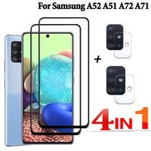a52 Cristal protector 3 en 1 para samsung galaxy a51 5g a72 a52, protector de pantalla para cámara de seguridad a51 a71 cristal templado sansung a 52 4g