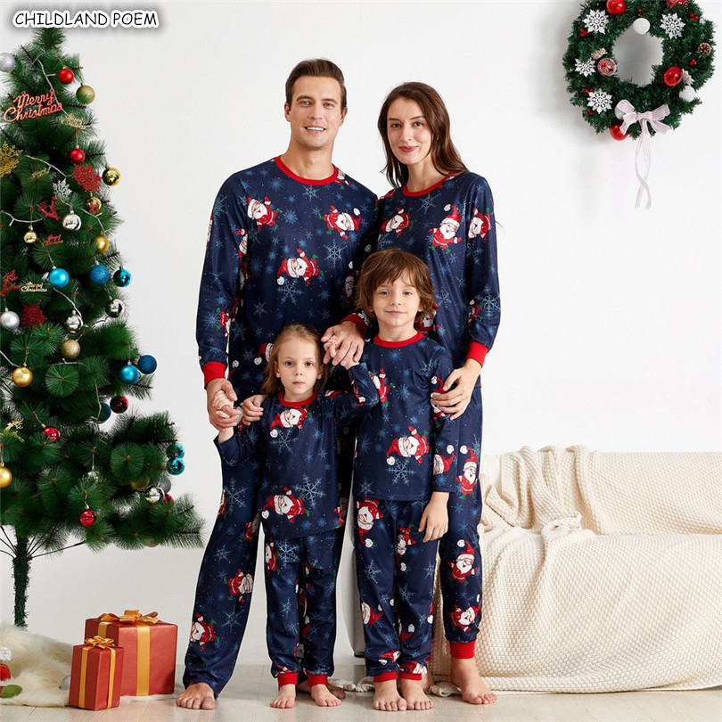 Family Christmas Pajamas Set X-mas Family Matching Clothes Mother Daughter Father Son Pyjamas Sleepwear Family Look Nightwear