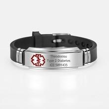 Diabetic Custom Engraving Medical Alert ID Bracelet Adjustable Silicone Length Wrist For Men Boy Child ICE SOS Jewelry