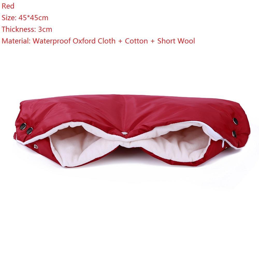 Warme/зимние варежки на коляску, ветрозащитные перчатки для новорожденных, непромокаемые флисовые Детские коляски, аксессуары - Цвет: Red