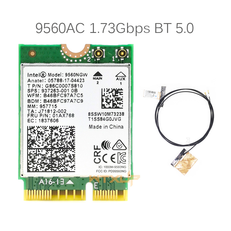 С 2 антеннами для беспроводной карты Intel 9560AC 9560NGW 1,73 Гбит/с M2: карта Wi-Fi CNVi 802.11ac Bluetooth 5,0 для Windows 10