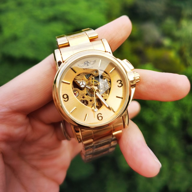 WINNER Watches Women Fashion Watch 2020 Automatic Mechanical Golden Heart Skeleton Dial Stainless Steel Band Elegant Lady Watch 4