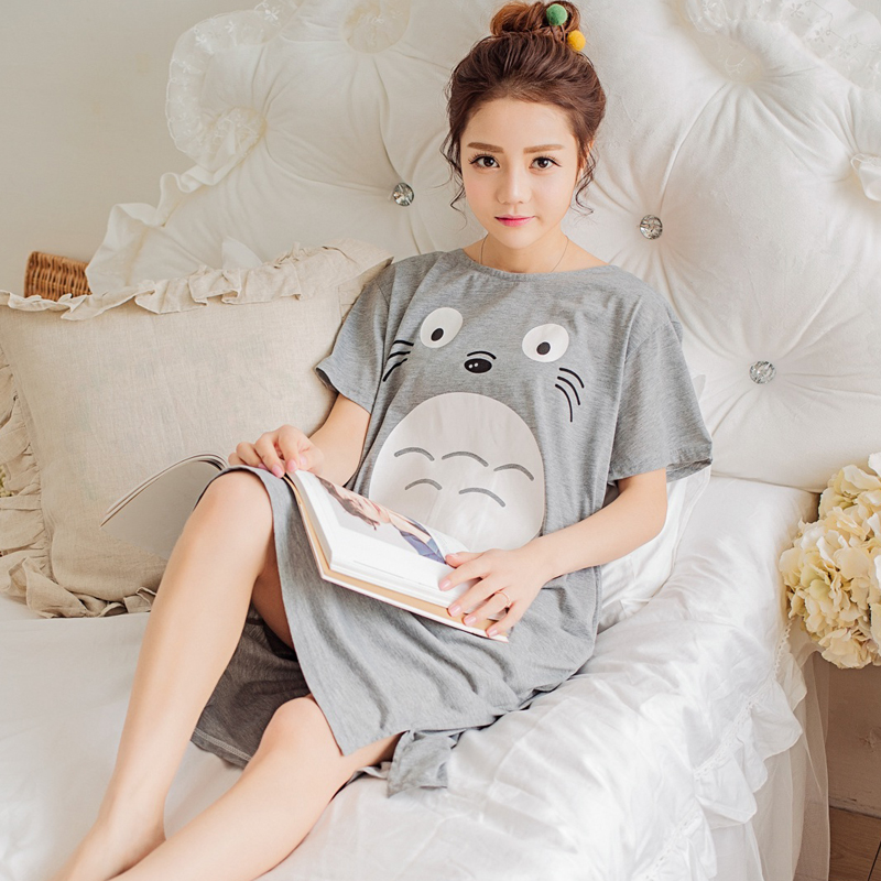 Plus Size Ladies Cartoon Sleepwear Long Sleeve Cute Nightdress Negligee Summer Cotton Nightgown Casual Nightshirt Home Dress