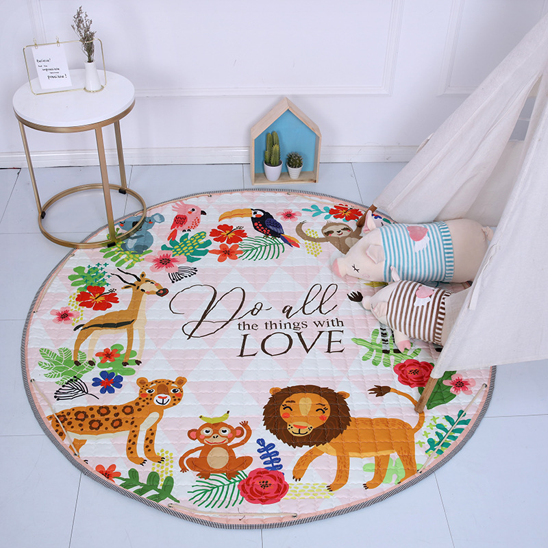 H533bab54f89348e59f59c6a5e032826b1 Kid Soft Carpet Rugs Cartoon Animals Fox Baby Play Mats Child Crawling Blanket Carpet Toys Storage Bag Kids Room Decoration