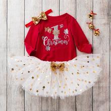 My first christmas/Модный комбинезон с длинными рукавами для маленьких девочек, топы, платье-пачка, набор для волос, осенняя одежда navidad
