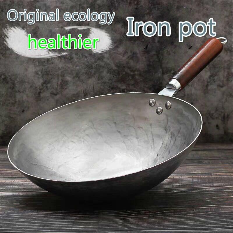 Manche en bois fer pur casserole en acier inoxydable sans revêtement Wok antiadhésif forgé à la main fer Pan Style chinois fer Pot cuisinière à gaz