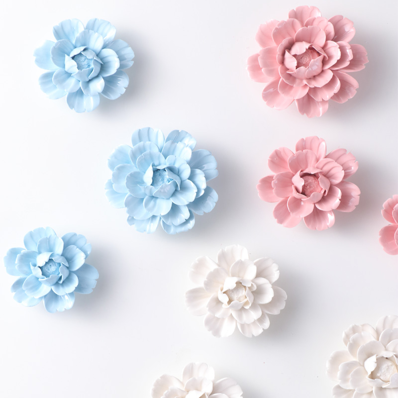 Chinese Modern Handmade 3D Creative Ceramic Flowers Home Wall Hanging Peony Flower Decoration Livingroom Wall Background Mural