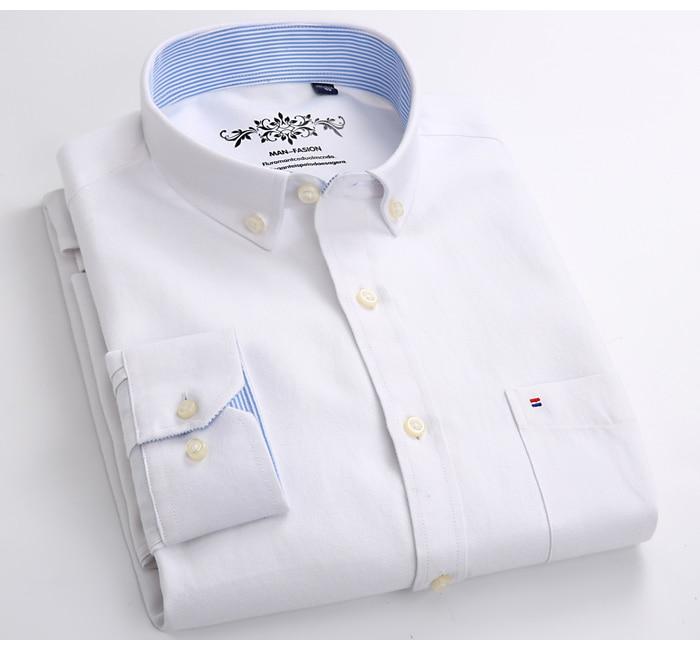 H533c08f4a8c34b0f93f8c6959bd513457 Men's Plus Size Casual Solid Oxford Dress Shirt Single Patch Pocket Long Sleeve Regular-fit Button-down Thick Shirts