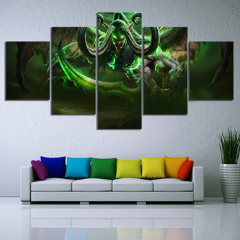 Home Decoration Canvas Painting Prints World Of Warcraft Video Game 5 Panel WOW Hero Illidan Stormrage Modular Pictures Poster image