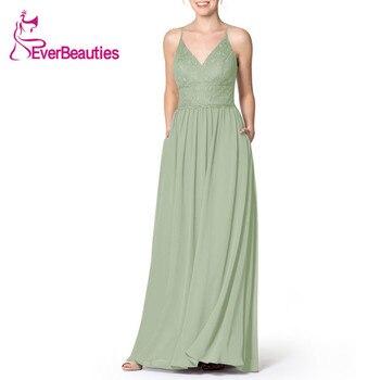 Vestido de invitado de Boda Verde claro 019 Vestido de fiesta Halter Vestidos de dama de honor Vestido de gasa de Madrinha Sukienka Vestidos Para fiesta