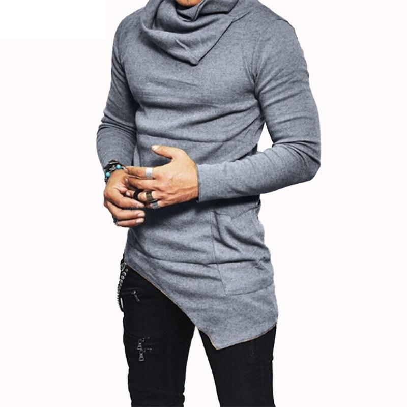 Plus Size 5XL Men's Hoodies Unbalance Hem Pocket Long Sleeve Sweatshirt For Men Clothing Autumn Turtleneck Sweatshirt Top