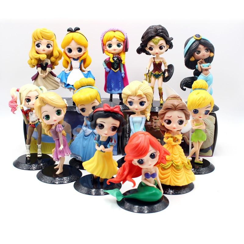 Лидер продаж, 28 стилей, Disney, принцесса Q, плакет, принцесса снег, Эльза и Анна, клоун, ПВХ, аниме куклы, фигурки, Коллекционная модель, детские и...