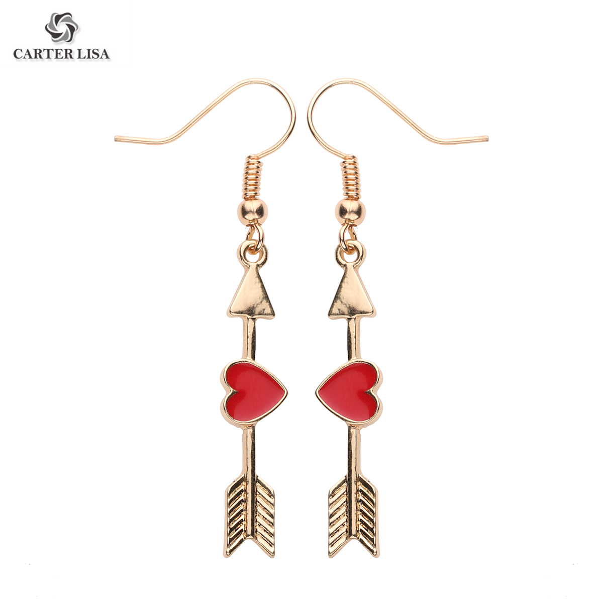 CARTER LISA Romantic Women Arrow Heart Earrings Elegance Long Drop Earrings For Lovers Valentine's Day Gift Couple Anniversary