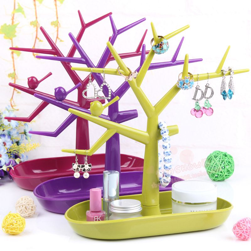 New New Display Organizer Holder Show Rack Jewelry Necklace Ring Earring Tree Stand MV66