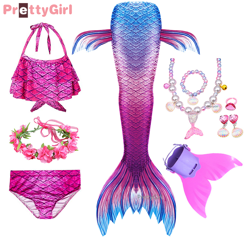 Children Swimsuit Bikini Mermaid-Costume Can-Add-Monofin-Fin Fantasy Cosplay Girls Kids