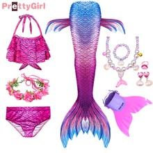 PrettyGirl niños niñas nadar cola de sirena disfraz de sirena Cosplay traje de fantasía playa Bikini puede agregar monoaleta Fin