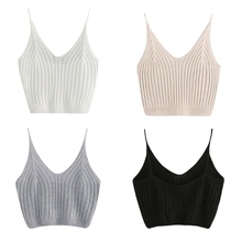 Damska koszulka letnia Basic Sexy Strappy bez rękawów krótki Top L4ME tanie i dobre opinie CN (pochodzenie) COTTON NONE tops NA RAMIĄCZKACH Z dzianiny L4ME6EE700472-BK-M WOMEN Sexy Club W paski krótkie White Black Grey Apricot