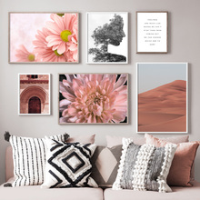 Pink Flower Desert Girl Quote Wall Art Print Canvas Painting Nordic Posters And Prints Pictures For Living Room