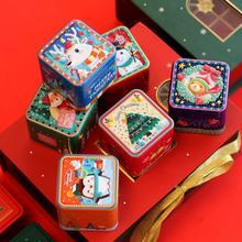 2Pc /Lot Christmas Cartoon Square Candy Coin Tin Storage Box Flower Tea Jewelry