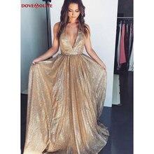 Золотое Платье с v образным вырезом и блестками длинное платье