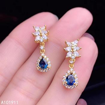 KJJEAXCMY fine jewelry 925 sterling silver inlaid natural sapphire popular female earrings fashion support detection noble