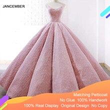 J66675 Jancember różowa sukienka na Quinceanera 2020 suknia bez ramiączek piętro długość sukienek vestido quinceanera 15 платье на бл