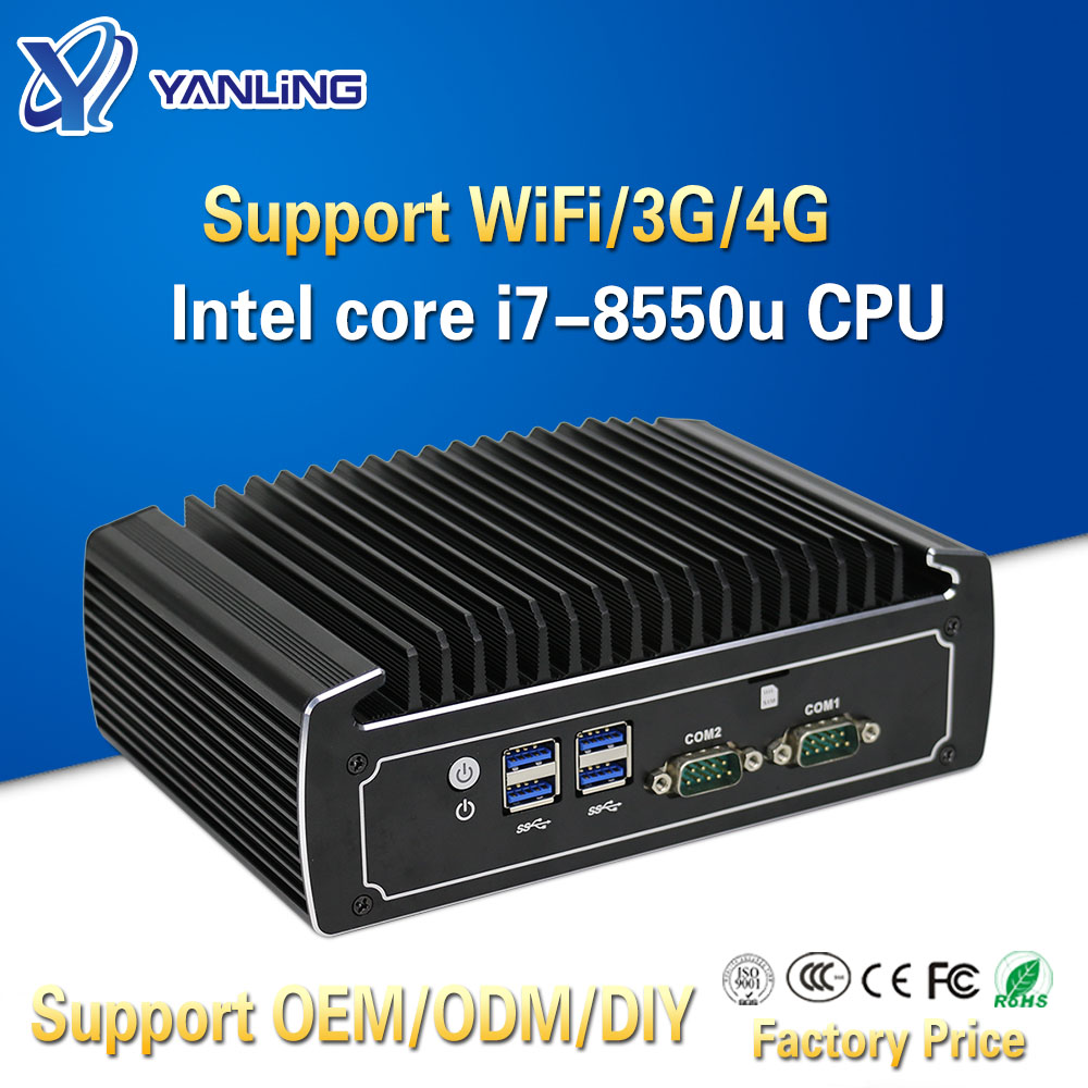 Yanling Top Mini PC Win 10 Intel I7-8550u Quad Core Dual Lan 4K HTPC Fanless Gaming Laptop Desktop Computers With 2 COM Optional