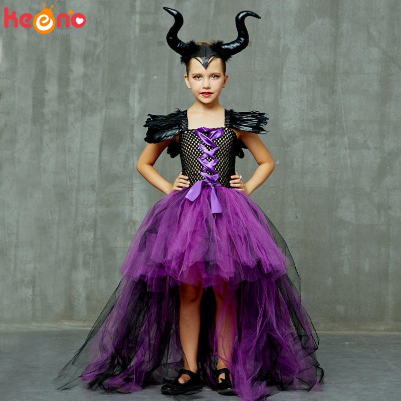 Halloween Maleficent Evil Dark Queen Girls Tutu Dress with Horns Wicked Witch Kids Cosplay Party Ball Gown Costume Fancy Clothes 2