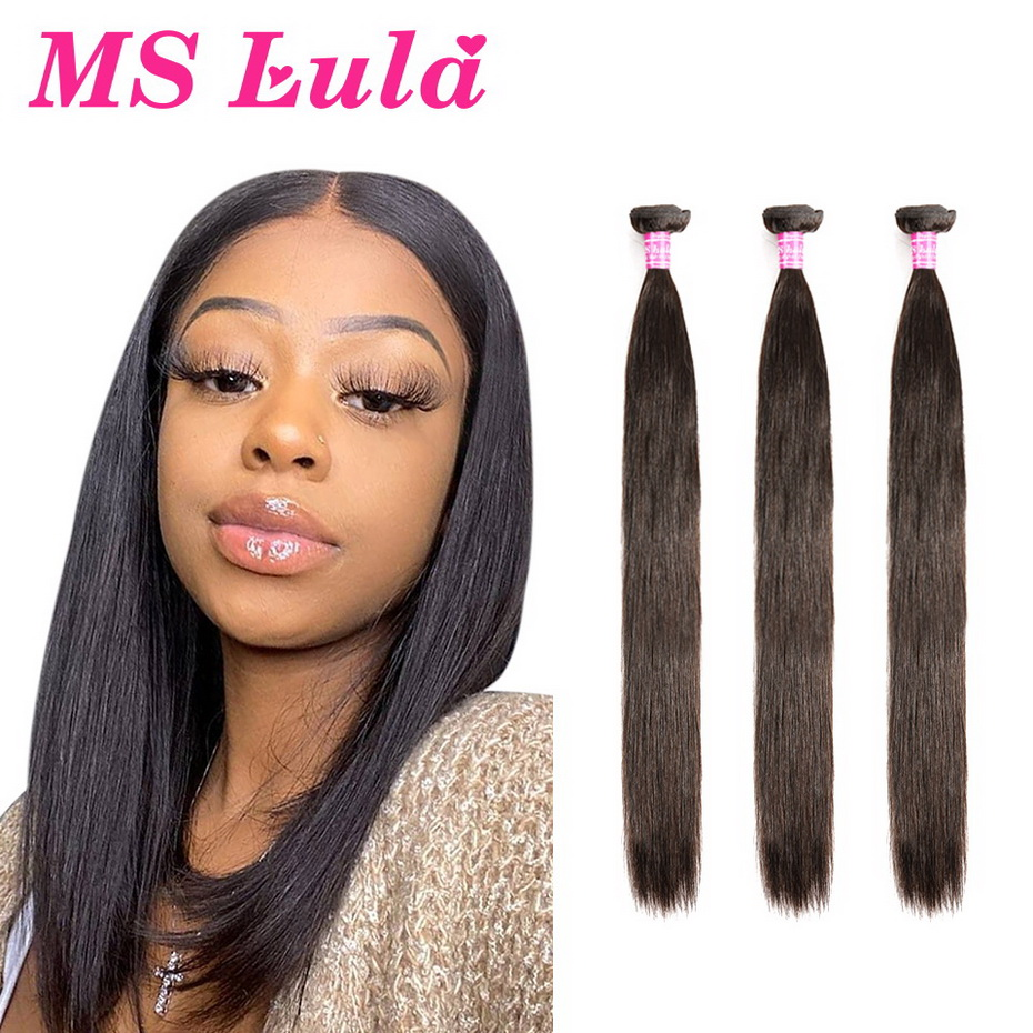 Brazilian Hair Weave Bundles Straight Hair MS Lula Remy Natural Color 30 Inch Bundles 3 4 Pieces Human Hair Extensions For Women