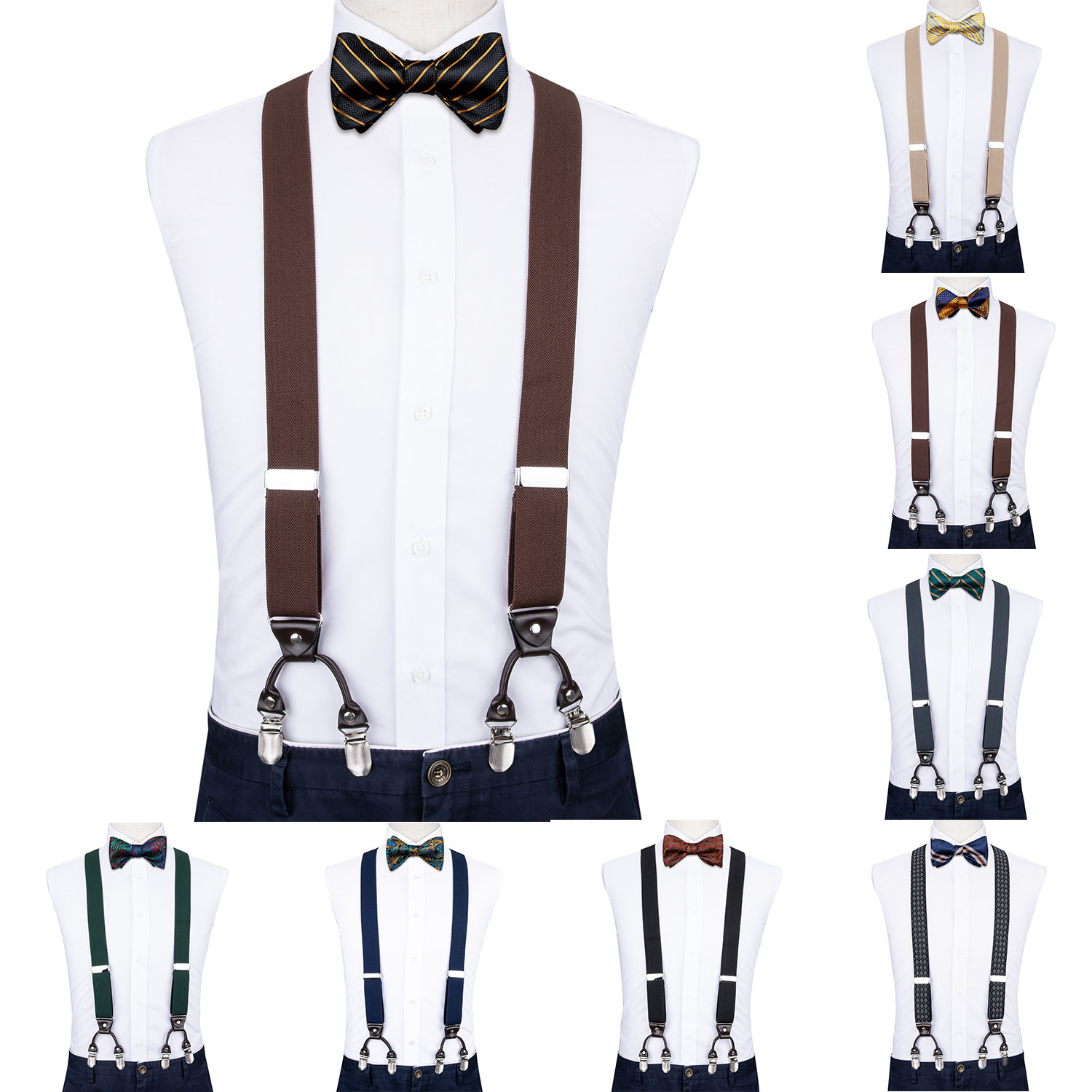 4PC Men Coffee Suspender Genuine Leather 6 Clips Brace Male Vintage Wedding Butterfly Bow Tie Hanky Cufflinks Set DiBanGu