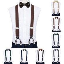 4шт мужчин кофе Подтяжк натуральная кожа 6 клипы бандаж мужской старинные свадебные бабочка галстук Шуры запонки комплект DiBanGu