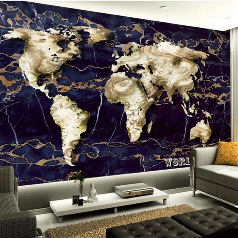 Diantu Customized mural wallpaper fashion home improvement original marble world map creative TV background papel de parede Home Improvement