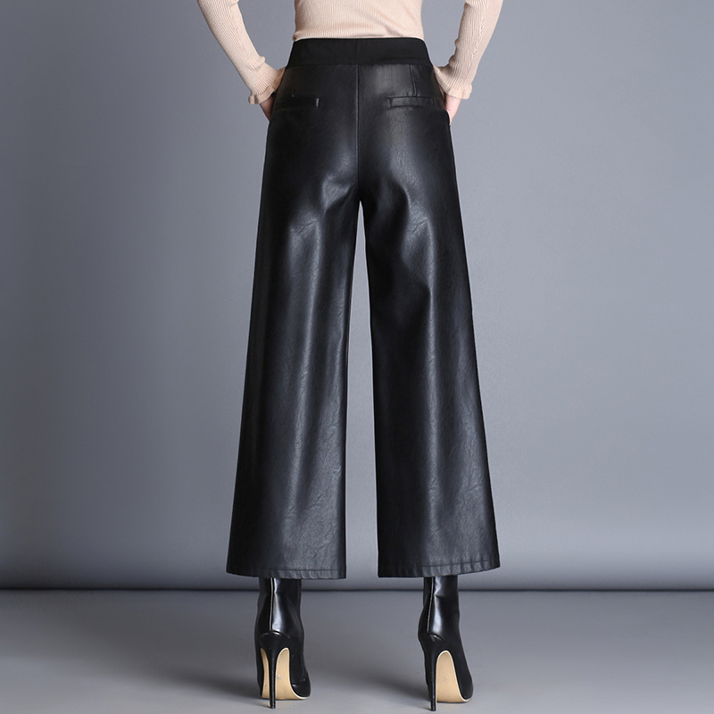 Cool Fashion Commuting Elegant Capri Loose Pants 2019 New Style Korean-style High-waisted Slimming PU Leather Trend Wide Cuffles