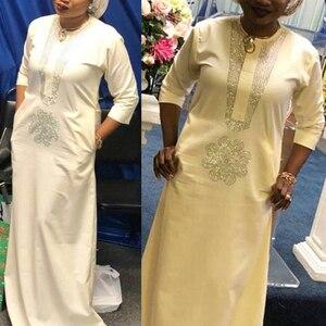 Image 2 - white african women dresses dashiki embroidery plus size ladies african dresses robe africaine maxi dress 3xl 4XL scarf hearwrap