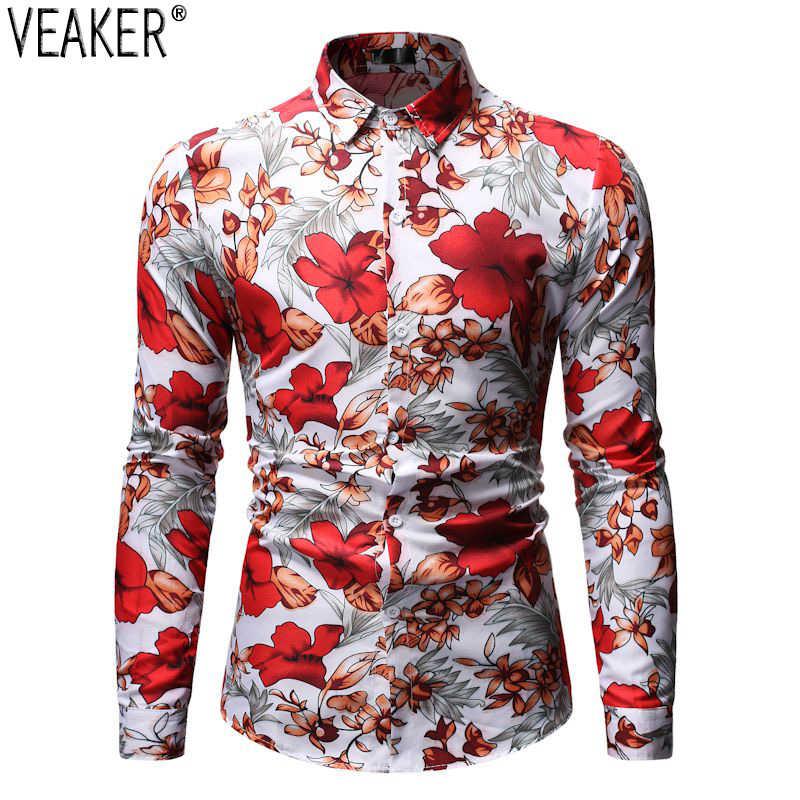 2019 neue herren Langarm Blume Gedruckt Hemd Männlich Slim fit Floral Print Shirt Männer Lässige Grund Tops Shirts 8 farben M-3XL