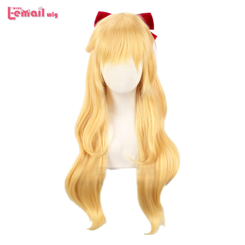 L-email peruka Sailor Venus peruka do Cosplay s Sailor Moon Minako Aino peruka do Cosplay blond luźna fala długie żaroodporne włosy syntetyczne