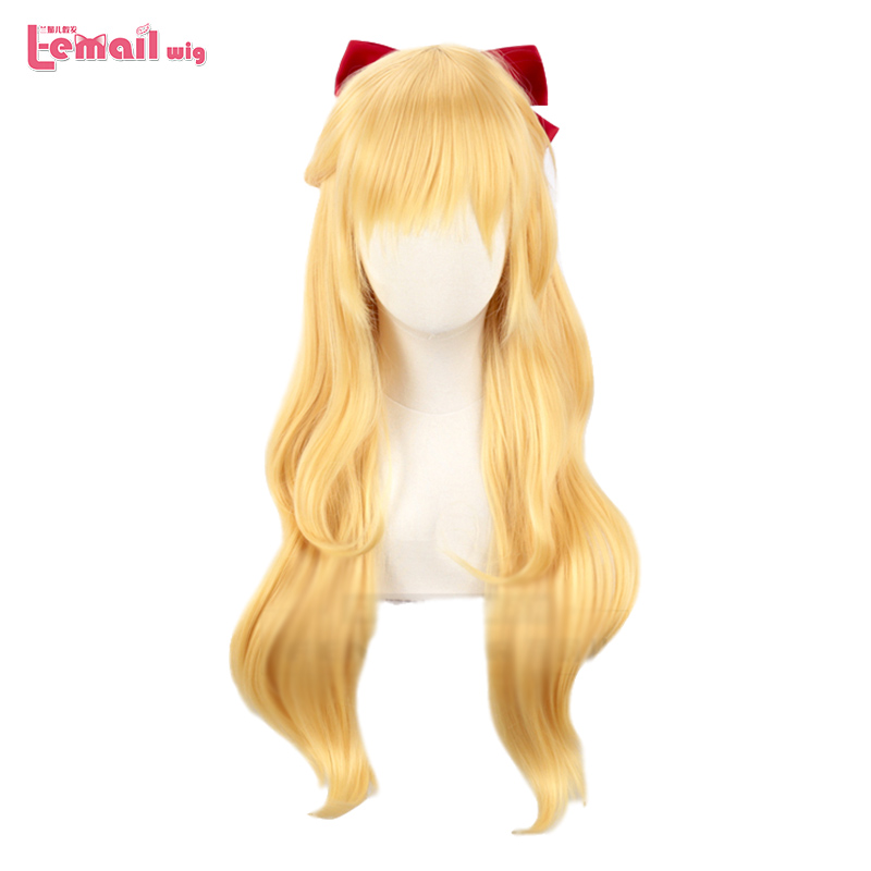 L-email Wig Sailor Venus Cosplay Wigs Sailor Moon Minako Aino Cosplay Wig Blonde Loose Wave Long Heat Resistant Synthetic Hair