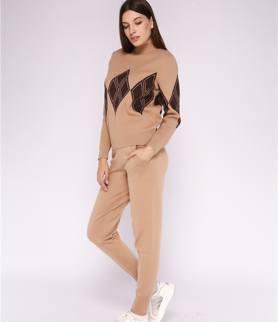 2019 New Turtleneck Pullover Sweatshirts Knit Pants Two Piece Sets Women Knitted Tracksuit Autumn Winter Female Clothing Sets