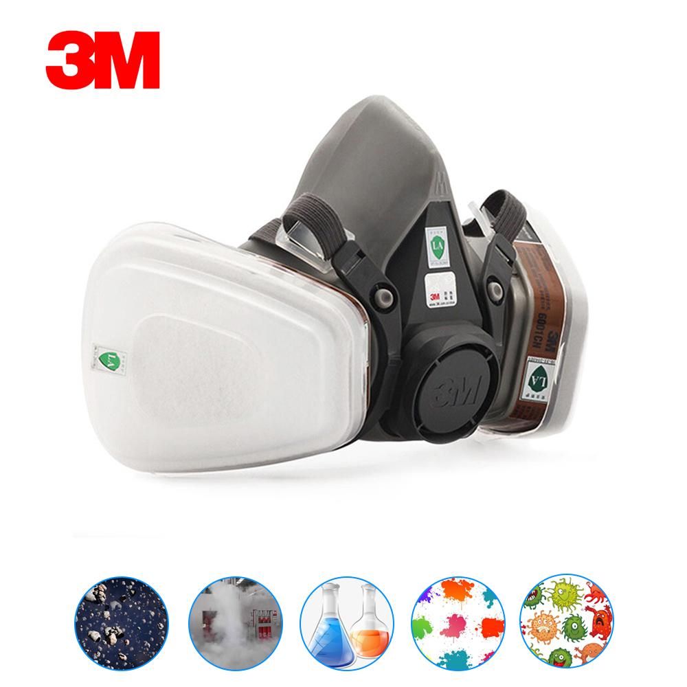 3M Mask 6200 19 In 1 PM2.5 Industrial Half Face Painting Spraying Respirator Gas Mask Dust Proof Safety Work Filter Dust Mask