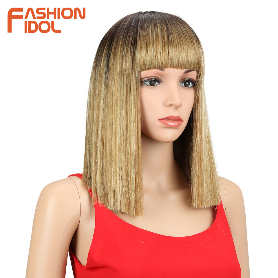 Image 3 - FASHION IDOL Short Bob Wigs For Black Women 14 inch Ombre 613 Blonde Linen Color Neat Fringe Straight Hair Synthetic Wig Cosplay-in Synthetic None-Lace  Wigs from Hair Extensions & Wigs